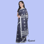 Load image into Gallery viewer, Midnight Blue Liva Saree with Silver Zari Flower Motifs