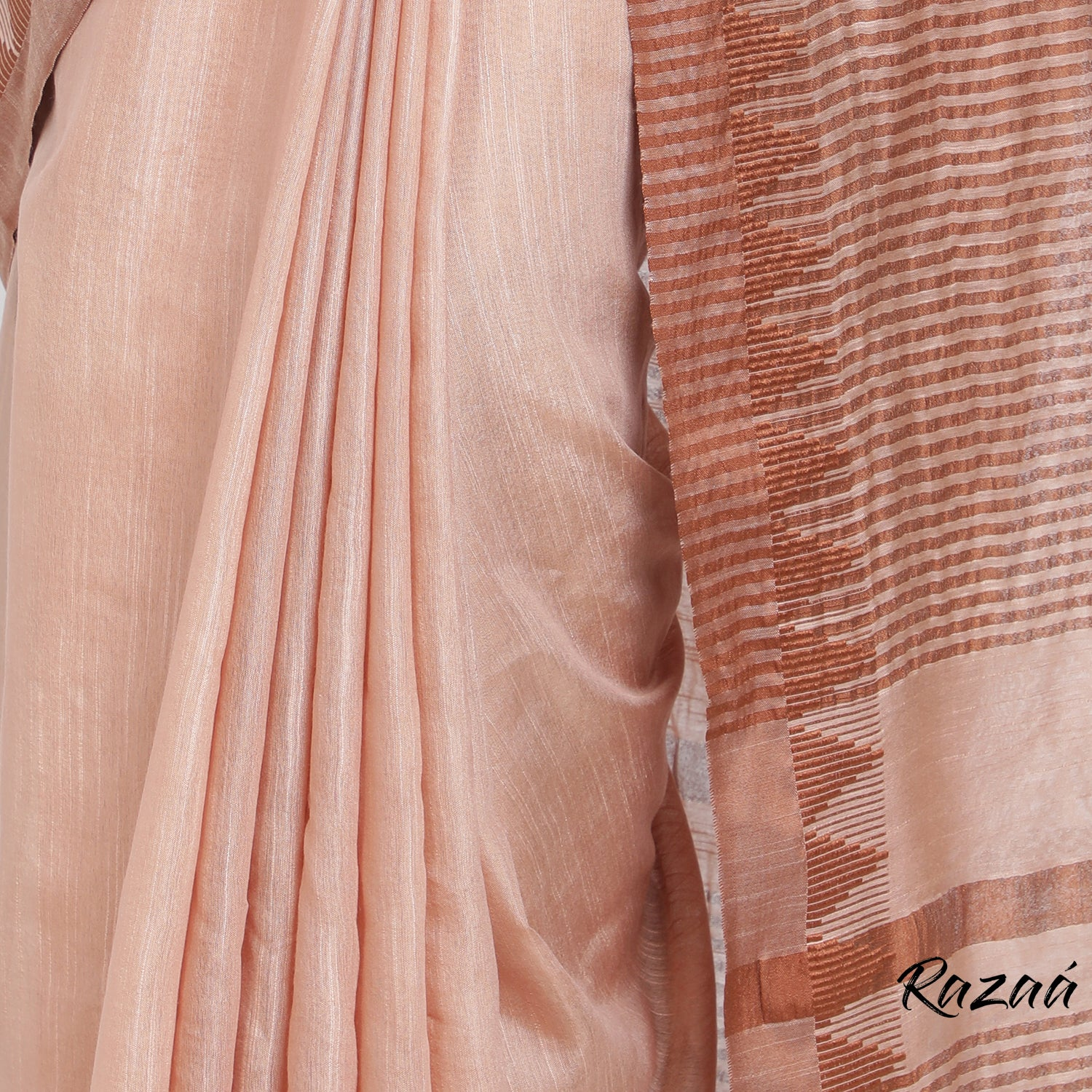 Coral Liva Saree with Chocolate Temple Border