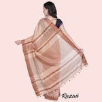 Load image into Gallery viewer, Coral Liva Saree with Chocolate Temple Border