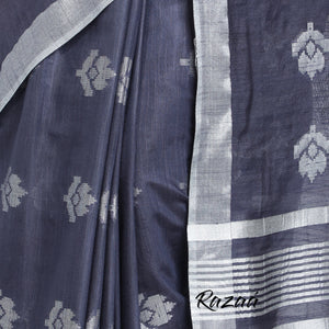 Midnight Blue Liva Saree with Silver Zari Flower Motifs