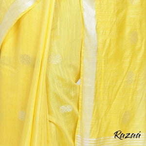 Lemon Yellow Liva Saree with Silver and Gold Flower Motif