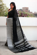 Load image into Gallery viewer, Black Liva Saree with Peacock Jaquard Zariwork