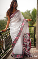 Load image into Gallery viewer, Silver Fox Tissue Linen Jacquard Floral Saree