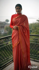Load image into Gallery viewer, Red Geometry Liva Saree