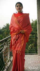 Red Geometry Liva Saree