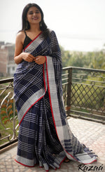 Load image into Gallery viewer, Navy Blue Checks Linen Saree