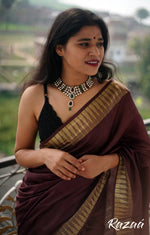 Load image into Gallery viewer, Gold Zari Temple Border Brown Liva Saree