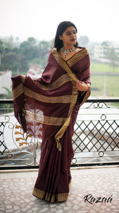 Gold Zari Temple Border Brown Liva Saree