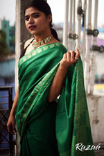 Load image into Gallery viewer, Forest Green Liva Jacquard Saree