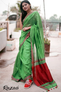 Jade Green Liva Creme Saree