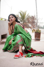 Load image into Gallery viewer, Jade Green Liva Creme Saree