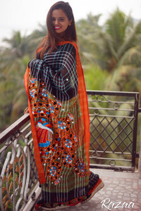 Madhubani Embroidered Pure Linen Saree
