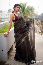 Load image into Gallery viewer, Black Violet Silk Liva Creme Jacquard Saree