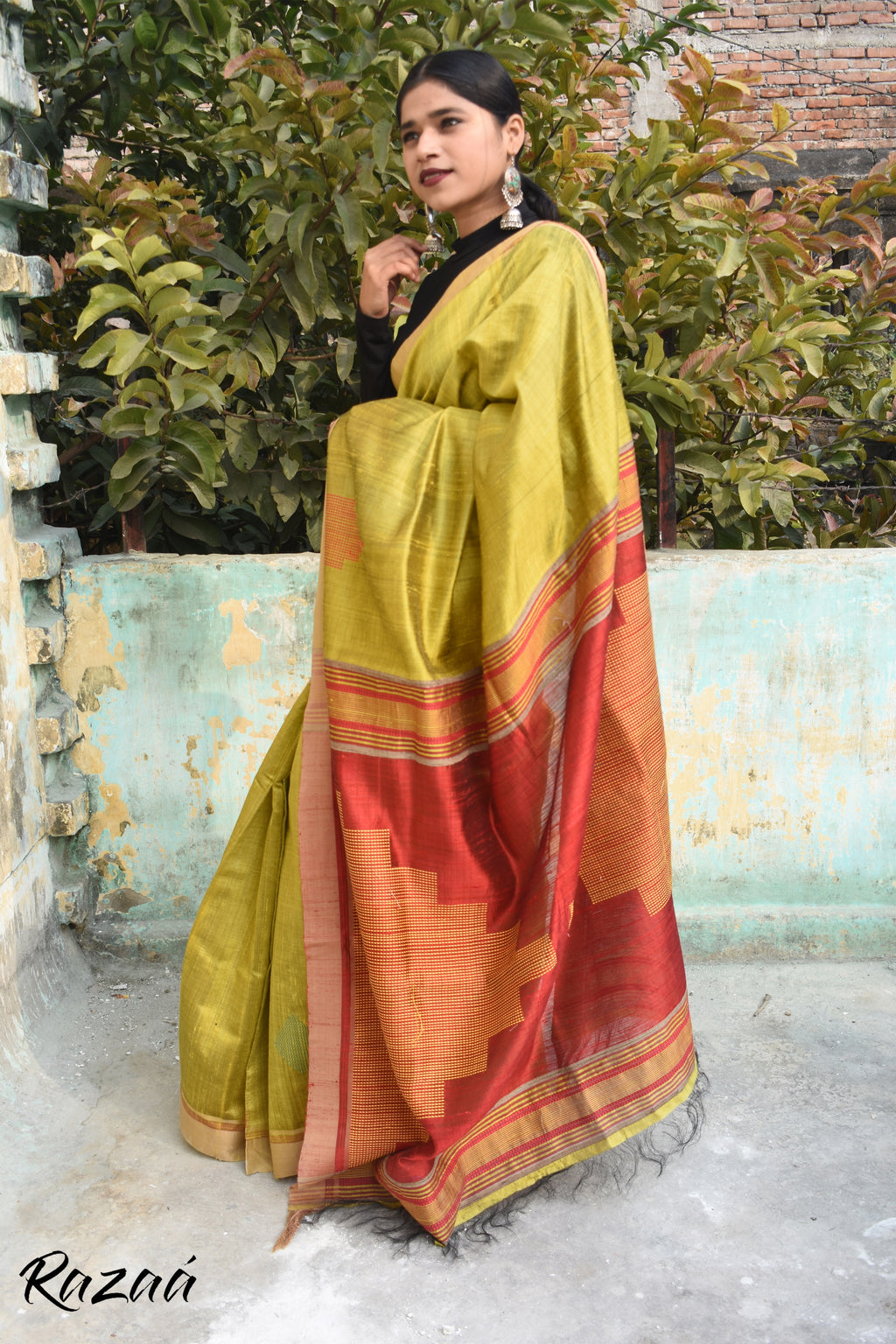 Lime Green Handwoven Silk Saree