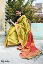 Load image into Gallery viewer, Lime Green Handwoven Silk Saree