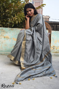 Harbour Gray Silk Liva Creme Saree