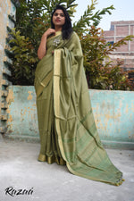 Load image into Gallery viewer, Olive Blossoms Silk Liva Saree
