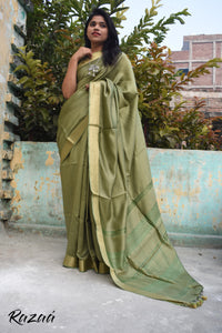 Olive Blossoms Silk Liva Saree