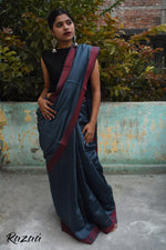 Load image into Gallery viewer, Metallic Blues Liva Creme Saree