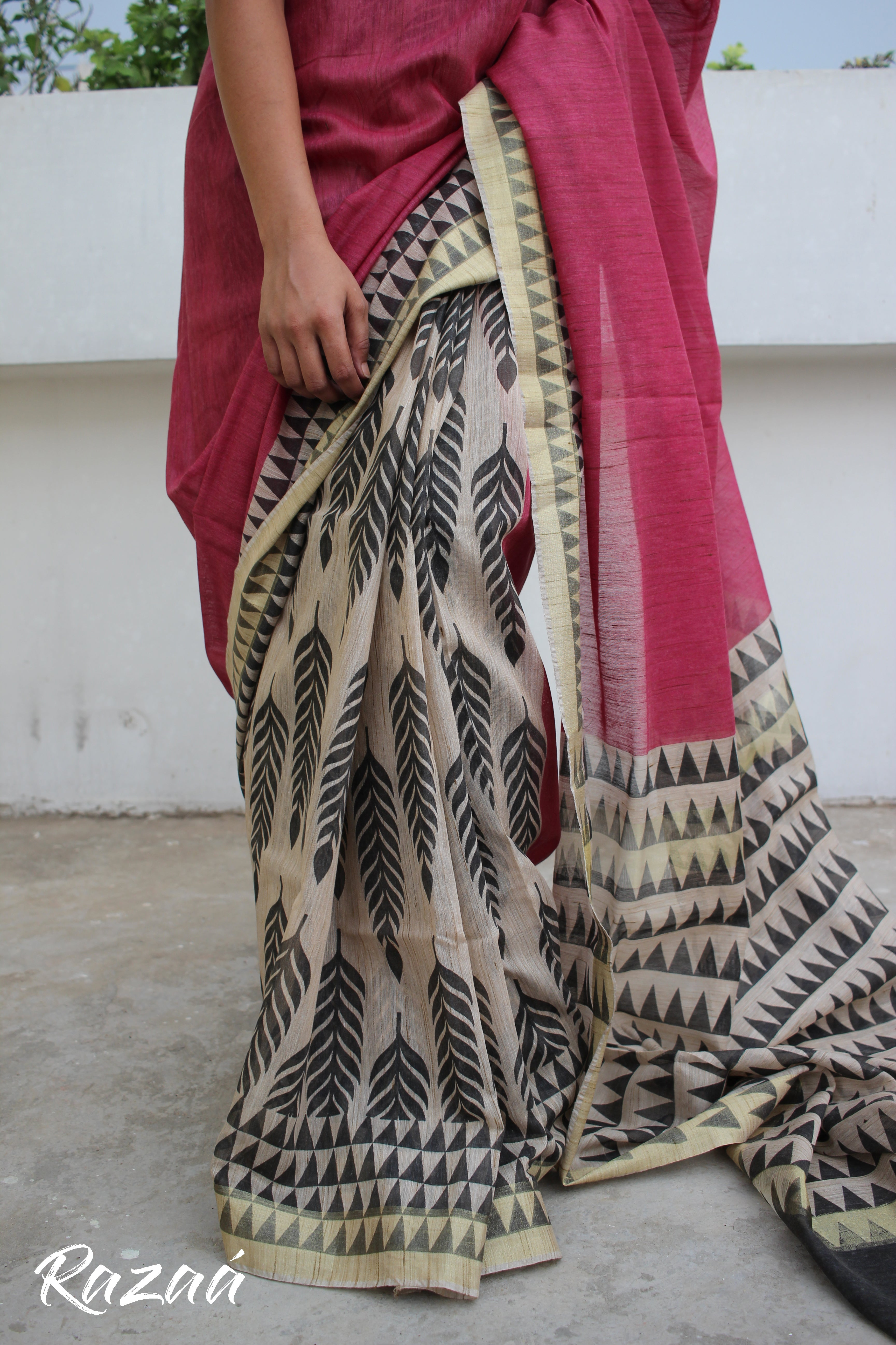 Hand Block Printed Liva Saree
