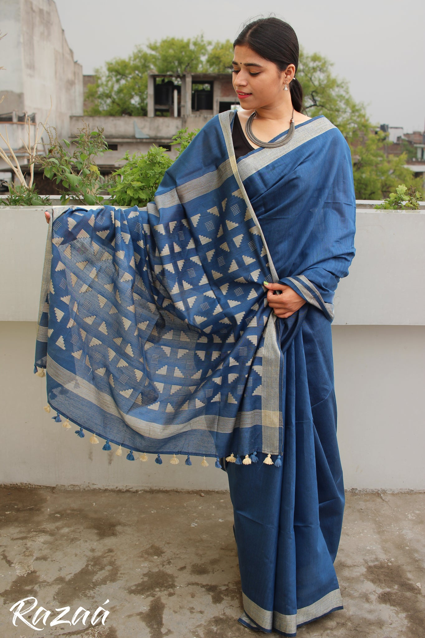 Geometric Anchal Blue Liva Saree
