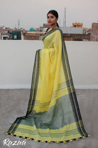 Yellow Linen Saree with Temple border