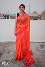 Load image into Gallery viewer, Pink Liva saree with Orange Temple Borders