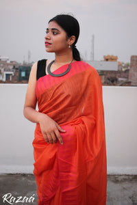 Pink Liva saree with Orange Temple Borders