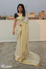 Load image into Gallery viewer, Off White Tissue Linen Saree with Golden Zari Border