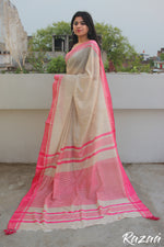 Load image into Gallery viewer, Pink Border Cream Cotton Saree