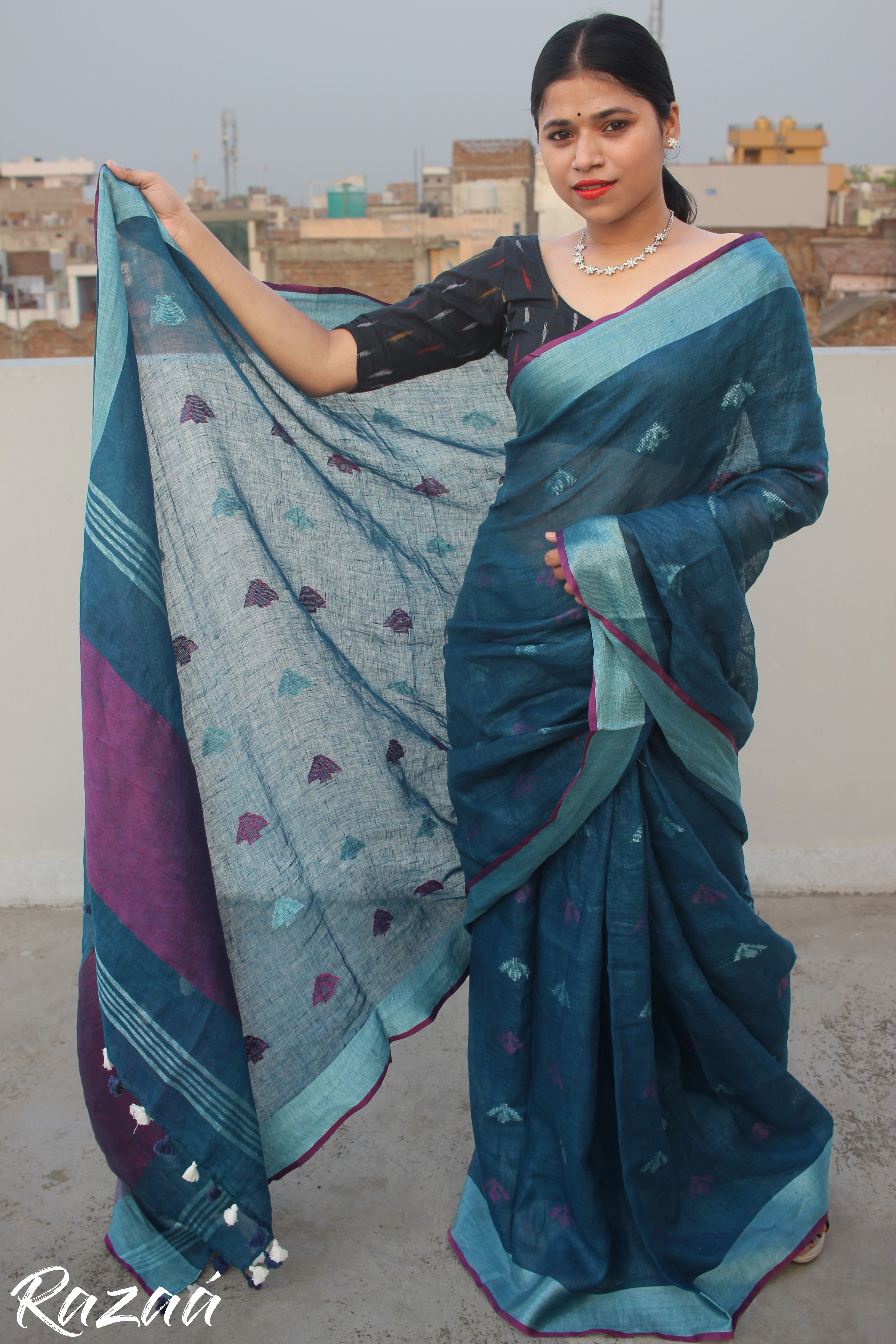 Deep Sea Linen Saree with motif work