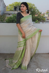 Green Border Cream Cotton Saree