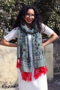 Scarlet and Cyan Mulmul Hand Printed Scarf