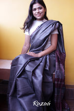 Load image into Gallery viewer, Handwoven Tussar Silk Saree