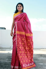 Load image into Gallery viewer, Coral Pink Liva Saree with Jaquard Anchal Work