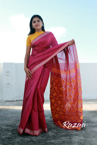 Coral Pink Liva Saree with Jaquard Anchal Work