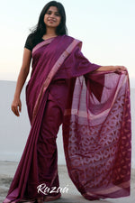 Load image into Gallery viewer, Imperial Purple Cutwork Liva Saree