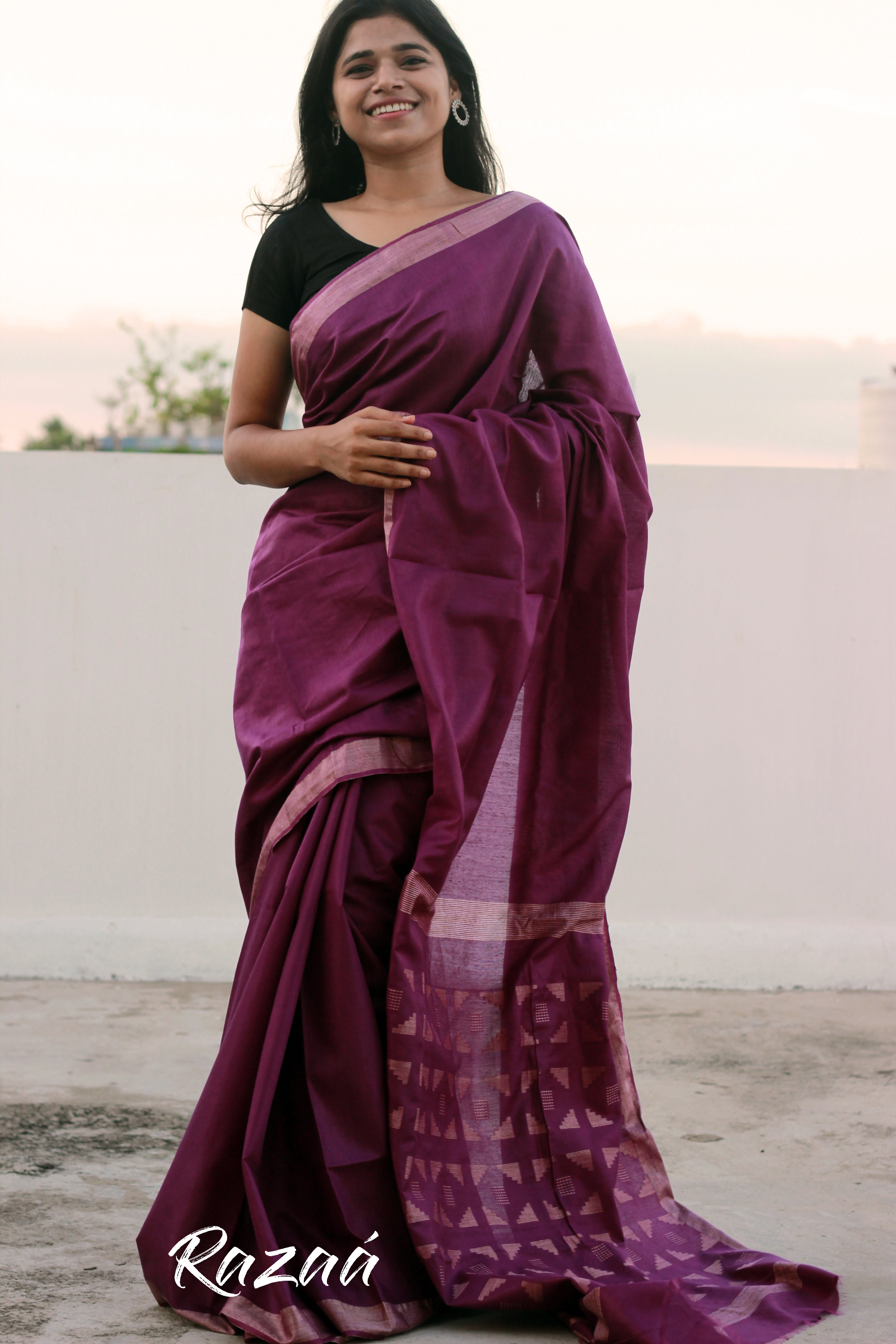 Imperial Purple Cutwork Liva Saree