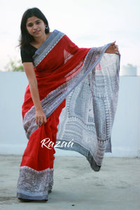 Red n Black Madhubani Linen Saree