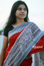 Load image into Gallery viewer, Red n Black Madhubani Linen Saree