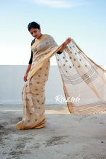 Load image into Gallery viewer, Gold Shimmer Tissue Linen Saree with dobby work