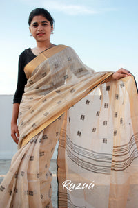 Gold Shimmer Tissue Linen Saree with dobby work