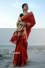 Load image into Gallery viewer, Blooming Red Liva Silk Anchal Saree