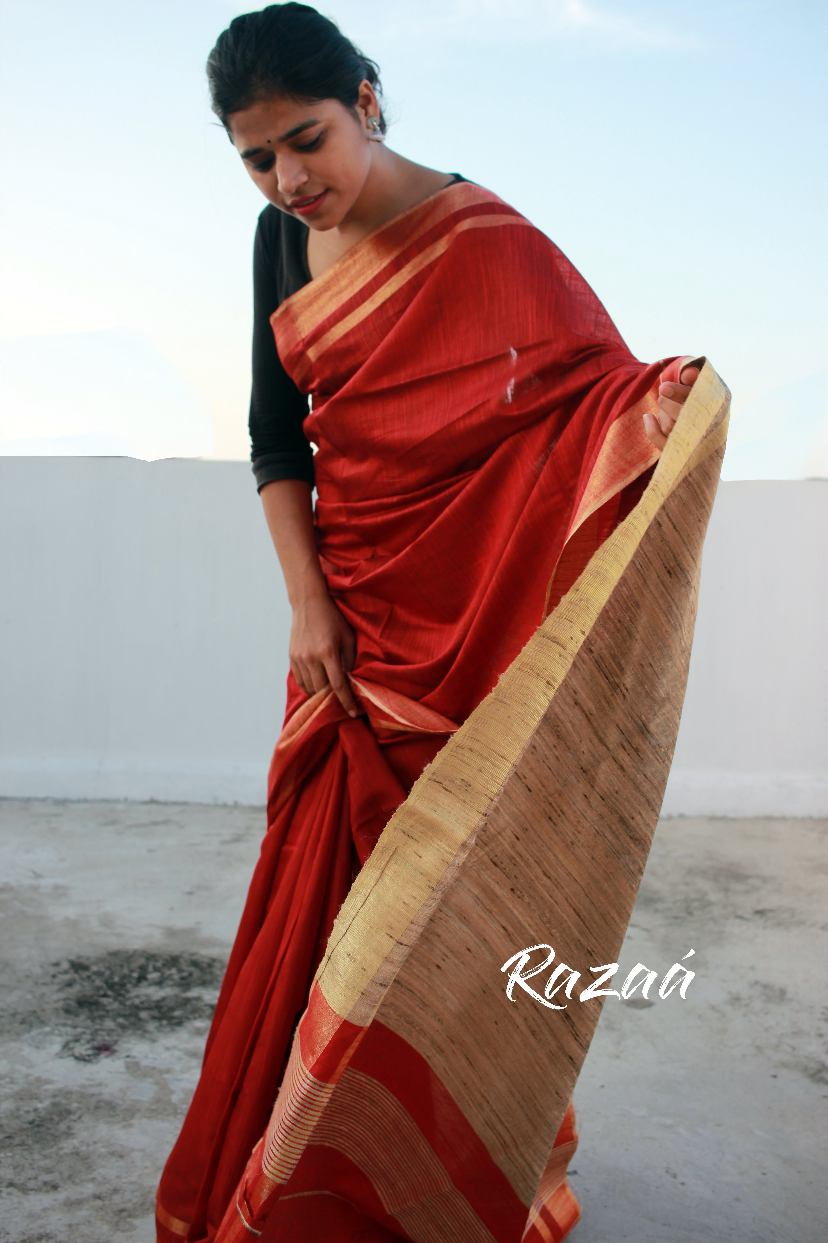 Blooming Red Liva Silk Anchal Saree