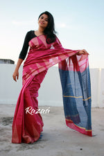 Load image into Gallery viewer, Pink n Blue Temple Cutwork Liva Saree