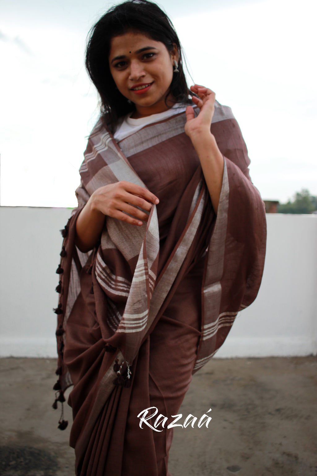 Chocolate Brown Mul Cotton Liva Saree