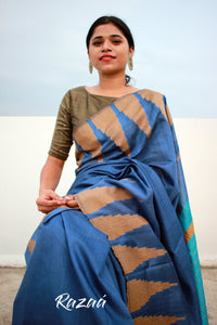 Azure and Cobalt Blue Temple Border Cutwork Liva Saree