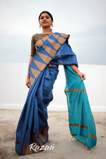 Load image into Gallery viewer, Azure and Cobalt Blue Temple Border Cutwork Liva Saree