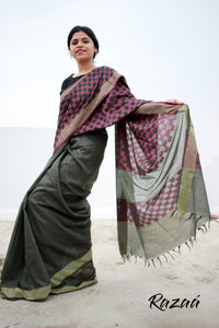 Long Anchal Cutwork Grey Banswada Saree