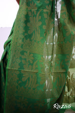 Load image into Gallery viewer, Resham Floral Motif Leafy Green Saree